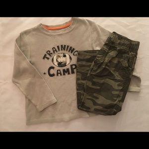 Boy's 4T Camo Football Shirt & Pants Outfit GUC